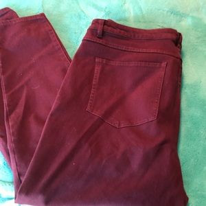 Denim - Wine colored stretch skinny leg jeans